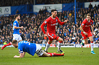 Conor Wilkinson of Gillingham middle scores the equaliser to make the score 1-1 and celebratesduring Portsmouth vs Gillingham, Sky Bet EFL League 1 Football at Fratton Park on 10th March 2018