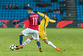 23rd March 2018, Ullevaal Stadion, Oslo, Norway; International Football Friendly, Norway versus Australia; Mohamed Elyounossi of Norway battles with Dimitri Petratos of Australia