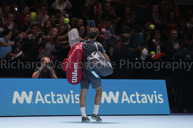 Barclays ATP World Tour Finals 2013<br /> Roger Federer (SUI) lost to Novak Djokovic (SRB) 4:6  7:6  2:6<br /> <br /> Tuesday 5th November 2013<br /> <br /> Photo: Richard Washbrooke Sports Photography<br /> Barclays ATP World Tour Finals 2013<br /> <br /> Tuesday 5th November 2013<br /> <br /> Photo: Richard Washbrooke Sports Photography