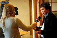 News editor Moe Aye being interviewd by Norwegian media. Democratic Voice of Burma is radio and TV station run by exiled Burmese. Opposing the government, the DVB has been transmitting, from the Norwegian capitol Oslo, into Burma since 1992.