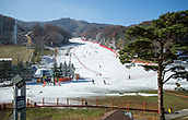 2017, PyeongChang, South Korea; A view of the piste in the Bokwang Snow Park, where the Olympic snowboarding and freestyle competitions will be carried out, in the region Pyeongchang