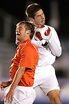 16 November 2007: Virginia Tech's Stefan Hock (left) and Boston College's Jamie Melas (right) challenge for a header. Boston College defeated Virginia Tech 3-1 at SAS Stadium in Cary, NC in an Atlantic Coast Conference Men's Soccer tournament semifinal.