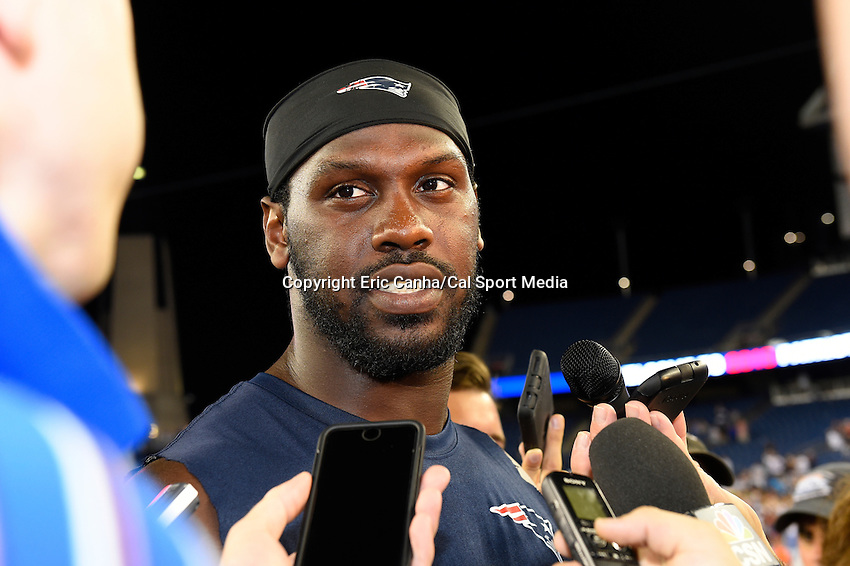 August 5, 2015: New England Patriots defensive end Chandler Jones (95) takes questions from the press during the New England Patriots training camp held on the the game field at Gillette Stadium in Foxborough Massachusetts. Eric Canha/CSM
