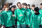 12.03.2020, Trainingsgelaende am wohninvest WESERSTADION,, Bremen, GER, 1.FBL, Werder Bremen Training, im Bild<br /> <br /> Die Mannschaft kommt zum Training - Kevin Vogt (Werder Bremen  #03)<br /> Yuya Osako (Werder Bremen #08)<br /> Leonardo Bittencourt  (Werder Bremen #10)<br /> <br /> Foto © nordphoto / Kokenge