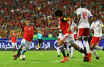 Egyptian players and Congo's players compete during their World Cup 2018 Africa qualifying match between Egypt and Congo at the Borg el-Arab stadium in Alexandria on October 8, 2017. Photo by Amr Sayed