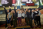 BIRMINGHAM, AL - MARCH 11: The Wingate University team receives their third place trophy during the Division II Men's and Women's Swimming & Diving Championship held at the Birmingham CrossPlex on March 11, 2017 in Birmingham, Alabama. (Photo by Matt Marriott/NCAA Photos via Getty Images)