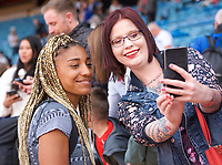 Nafissatou Thiam (Belgium) has a selfie after competing in the Women's long jump during the IAAF Diamond League Athletics Müller Grand Prix Birmingham at Alexander Stadium, Walsall Road, Birmingham on 18 August 2019. Photo by Alan  Stanford.