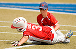 WATERBURY, CT-0712217JS07--Wolcott's Jay Derosa (6) tags out BC Cyclone's JC Pacheco (3) at second base during their  Roberto Clemente Tournament game Saturday at Municipal Stadium in Waterbury. <br /> Jim Shannon Republican-American