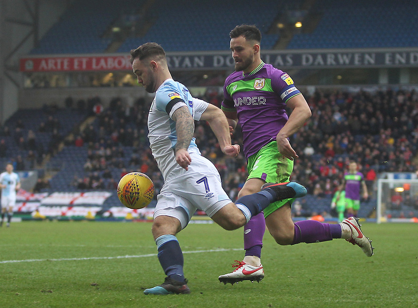 Blackburn Rovers Adam Armstrong runs past Bristol City's Bailey Wright<br /> <br /> Photographer Mick Walker/CameraSport<br /> <br /> The EFL Sky Bet Championship - Blackburn Rovers v Bristol City - Saturday 9th February 2019 - Ewood Park - Blackburn<br /> <br /> World Copyright © 2019 CameraSport. All rights reserved. 43 Linden Ave. Countesthorpe. Leicester. England. LE8 5PG - Tel: +44 (0) 116 277 4147 - admin@camerasport.com - www.camerasport.com