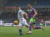 Blackburn Rovers Adam Armstrong runs past Bristol City's Bailey Wright<br /> <br /> Photographer Mick Walker/CameraSport<br /> <br /> The EFL Sky Bet Championship - Blackburn Rovers v Bristol City - Saturday 9th February 2019 - Ewood Park - Blackburn<br /> <br /> World Copyright &copy; 2019 CameraSport. All rights reserved. 43 Linden Ave. Countesthorpe. Leicester. England. LE8 5PG - Tel: +44 (0) 116 277 4147 - admin@camerasport.com - www.camerasport.com