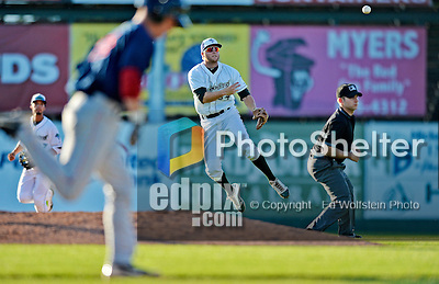 30 June 2012: Vermont Lake Monsters infielder Chad Lewis in action against the Lowell Spinners at Centennial Field in Burlington, Vermont. Mandatory Credit: Ed Wolfstein Photo