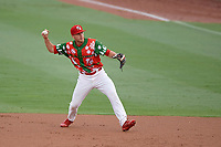 "Palm Beach Cardinals second baseman Luke Dykstra (32) throws to first base during a game against the Charlotte Stone Crabs on July 22, 2017 at Roger Dean Stadium in Palm Beach, Florida.  The Cardinals wore special ""Ugly Sweater"" jerseys for Christmas in July.  Charlotte defeated Palm Beach 5-2.  (Mike Janes/Four Seam Images)"