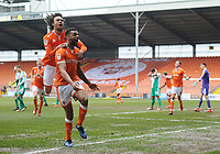 Blackpool's Curtis Tilt celebrates scoring his side's equalising goal to make the score 2-2 with team-mate Nya Kirby<br /> <br /> Photographer Kevin Barnes/CameraSport<br /> <br /> The EFL Sky Bet League One - Blackpool v Plymouth Argyle - Saturday 30th March 2019 - Bloomfield Road - Blackpool<br /> <br /> World Copyright © 2019 CameraSport. All rights reserved. 43 Linden Ave. Countesthorpe. Leicester. England. LE8 5PG - Tel: +44 (0) 116 277 4147 - admin@camerasport.com - www.camerasport.com