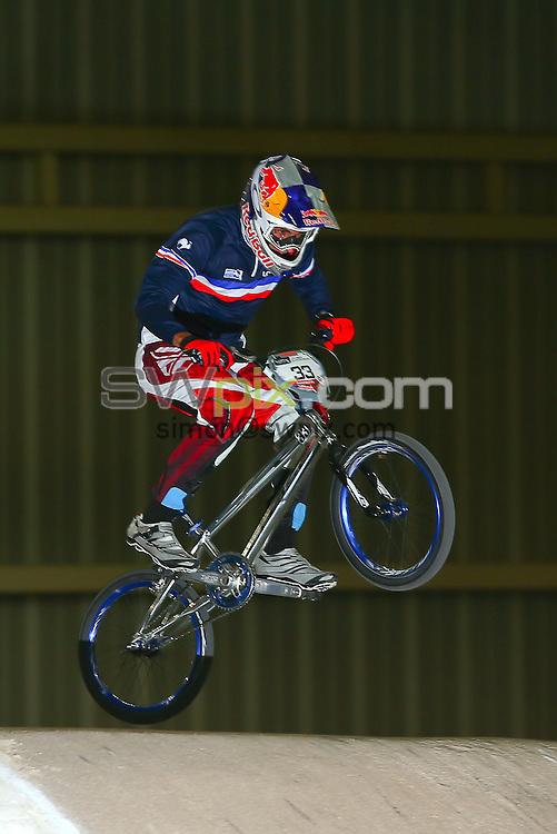 Picture by Alex Whitehead/SWpix.com - Cycling - 2014 UCI BMX Supercross World Cup - National BMX Centre, Manchester, England - 19/04/14 - Joris Daudet