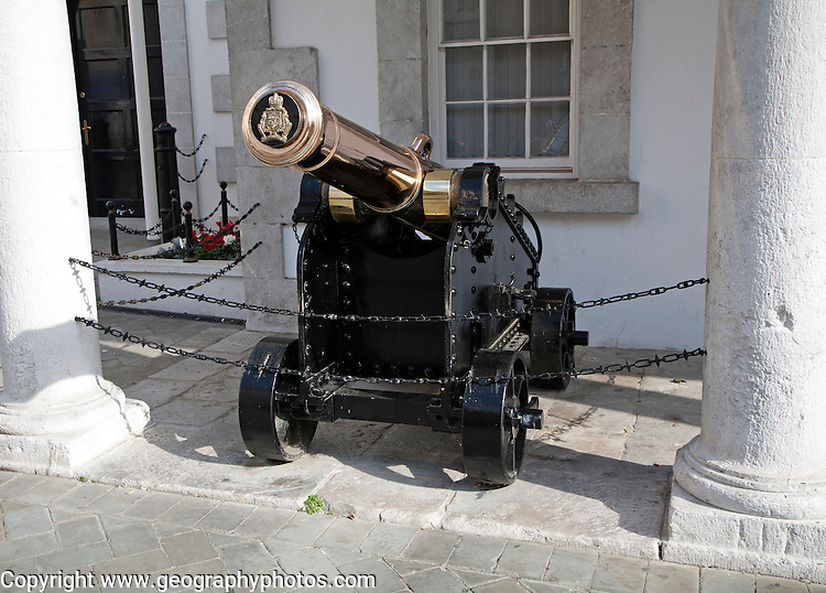Cannon at historic Convent Guard House building, Gibraltar, British overseas territory in southern Europe