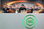 08-12-2015, Persconferentie, FC, Europees, Euroborg,  Richard van Elsacker of FC Groningen, trainer Erwin van de Looi of FC Groningen, Albert Rusnak of FC Groningen,