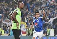 BOGOTA - COLOMBIA -27 -11-2016: David Silva (Der) de Millonarios celebra después de anotar un gol a Atlético Nacional durante partido de ida por los cuartos de final de la Liga Aguila II 2016 jugado en el estadio Nemesio Camacho El Campin de la ciudad de Bogota. / David Silva (R) of Millonarios celebrates after scoring a goal to Atletico Nacional during first leg match for the final quarters of the Liga Aguila II 2016 played at the Nemesio Camacho El Campin Stadium in Bogota city. Photo: VizzorImage / Gabriel Aponte / Staff.