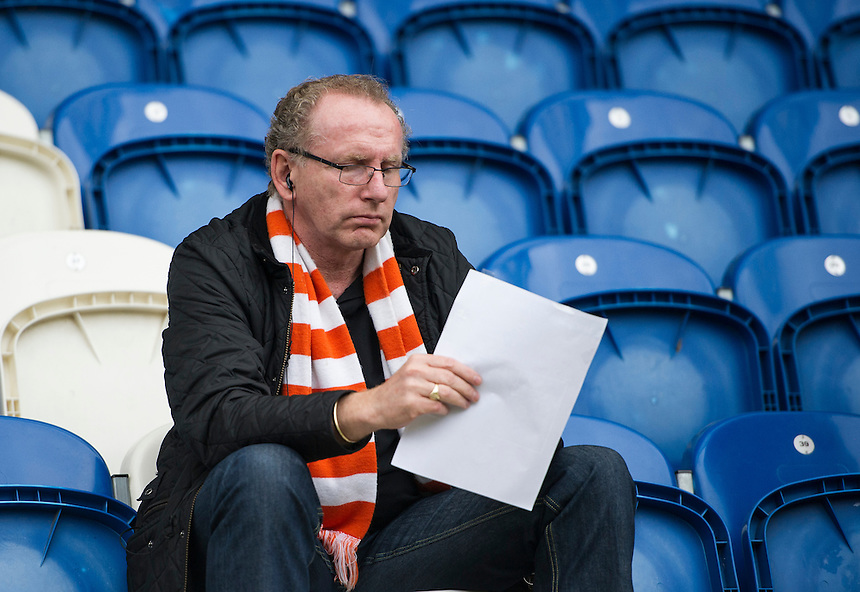 A dejected Blackpool fan at the final whistle<br /> <br /> Photographer Ashley Western/CameraSport<br /> <br /> The EFL Sky Bet League Two - Colchester United v Blackpool - Saturday 10th September 2016 - Colchester Community Stadium - Colchester<br /> <br /> World Copyright &copy; 2016 CameraSport. All rights reserved. 43 Linden Ave. Countesthorpe. Leicester. England. LE8 5PG - Tel: +44 (0) 116 277 4147 - admin@camerasport.com - www.camerasport.com