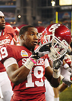 Jan. 1, 2011; Glendale, AZ, USA; Oklahoma Sooners defensive back (19) Demontre Hurst against the Connecticut Huskies in the 2011 Fiesta Bowl at University of Phoenix Stadium. The Sooners defeated the Huskies 48-20. Mandatory Credit: Mark J. Rebilas-.