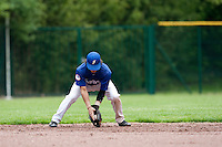 29 April 2009: Maxime Lefevre takes infield practice during the first of six 2009 MLB European Academy Try-out Sessions throughout Europe, at Stade Pierre Rolland, in Rouen, France. Try-out sessions are run by members of the Major League Baseball Scouting Bureau with assistance from MLBI staff.
