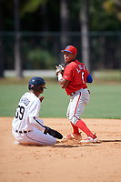 Philadelphia Phillies second baseman Alexeis Azuaje (5) looks to first as Iverson Leonardo (39) slides into second base during an Instructional League game against the Detroit Tigers on September 19, 2019 at Tigertown in Lakeland, Florida.  (Mike Janes/Four Seam Images)