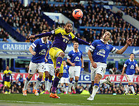 Pictured L-R: Ashley Williams of Swansea against Leon Osman of Everton. Sunday 16 February 2014<br />
