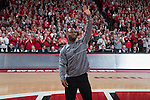Former Wisconsin Badgers football player and Super Bowl LI Champion James White waves to the crowd during an NCAA Big Ten Conference men's college basketball game against the Maryland Terrapins Sunday, February 19, 2017, in Madison, Wis. The Badgers won 71-60. (Photo by David Stluka)