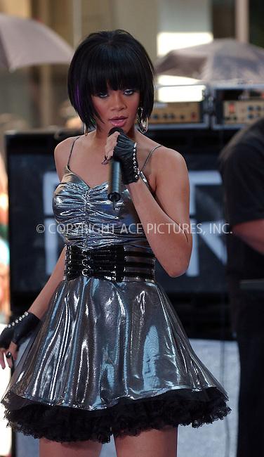 "WWW.ACEPIXS.COM . . . . . ......June 8 2007, New York City....Recording artist Rihanna performs during the NBC ""Today Show"" summer concert series at the Rockefeller Plaza.....Please byline: KRISTIN CALLAHAN - ACEPIXS.COM.. . . . . . ..Ace Pictures, Inc:  ..(646) 769 0430..e-mail: info@acepixs.com..web: http://www.acepixs.com"