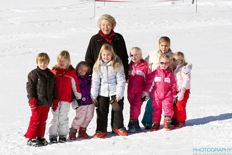 Queen Beatrix of Holland, with her Grandchildren attend a Photocall with Members of The Dutch Royal Family during their Winter Ski Holiday in Lech Austria