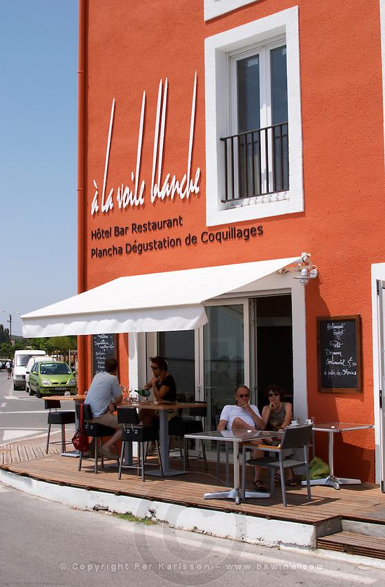 A La Voile Blanche restaurant hotel bar. Bouzigues Languedoc. France. Europe.