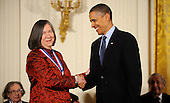 United States President Barack Obama awards Susan L. Lindquist from Whitehead Institute, Massachusetts Institute of Technology, the National Medal of Science and the National Medal of Technology and Innovation in the East Room of the White House, Wednesday, November 17, 2010 in Washington, DC. .Credit: Olivier Douliery / Pool via CNP