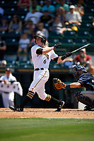 Bradenton Marauders right fielder Kevin Krause (6) follows through on a swing during a game against the Charlotte Stone Crabs on April 9, 2017 at LECOM Park in Bradenton, Florida.  Bradenton defeated Charlotte 5-0.  (Mike Janes/Four Seam Images)
