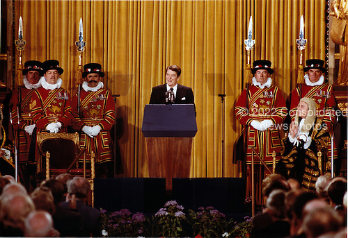 United States President Ronald Reagan addresses members of both houses of Parliament, London, England on Tuesday, June 8, 1982..Mandatory Credit: Bill Fitz-Patrick - White House via CNP.