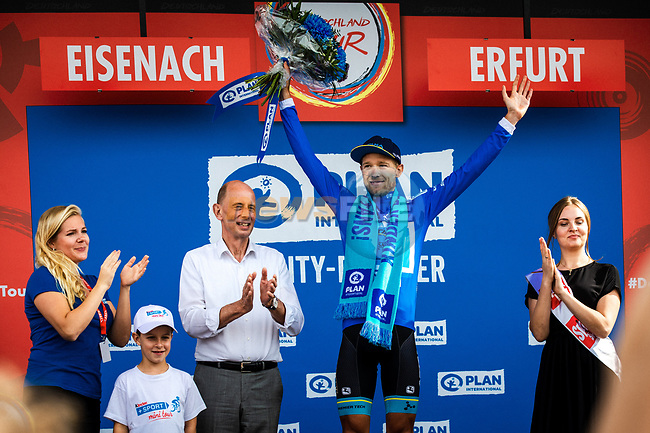 Magnus Cort Nielsen (DEN) Astana Pro Team wins the mountains Blue Jersey after Stage 4 of the Deutschland Tour 2019, running 159.5km from Eisenach to Erfurt, Germany. 1st September 2019.<br /> Picture: ASO/Henning Angerer | Cyclefile<br /> All photos usage must carry mandatory copyright credit (© Cyclefile | ASO/Henning Angerer)