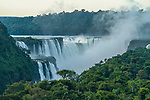 The Devil's Throat or Garganta del Diablo at sunrise at Iguazu Falls National Park in Argentina.  A UNESCO World Heritage Site.  Brazil is on the left side of the canyon, with Argentina on the right.