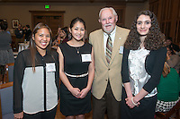 From left, Elissa Minamishin '14, Madi Tsuji '14, Richard Gilman and Georgia Tripodes '15. Occidental College hosts the Scholarship Appreciation Reception, February 13, 2014 in Dumke Commons of Swan Hall.  (Photo by Marc Campos, Occidental College Photographer)
