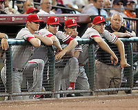 Phillies Kyle Kendrick, Adam Eaton, Jamie Moyer, and TJ Bohn watch on Sunday May 25th at Minute Maid Park in Houston, Texas. Photo by Andrew Woolley / Four Seam Images.