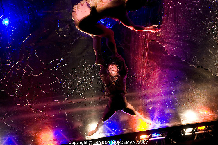 NEW YORK - OCT 3: Cast members of Fuerzabruta rehearse at the Daryl Roth Theater on October 3, 2007, in New York City. (Photo by Landon Nordeman)..Cast Members Include:.Freddy Bosche, Hallie Bulleit, Daniel Case, Michael Hollick, Joshua Kobak, Gwyneth Larsen, Tamara Levinson, Rose Mallare, Brooke Miyasaki, Jon Morris, Jason Novak, Marlyn Ortiz and Kepani Salgado-Ramos..Created by Diqui James; music by Gaby Kerpel; lighting by Edi Pampn; sound by Hernan Nupieri; costumes by Andrea Mattio; automation design by Alberto Figueiras