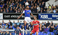 Ipswich Town's Grant Ward holds off the challenge from Middlesbrough's George Friend<br /> <br /> Photographer Hannah Fountain/CameraSport<br /> <br /> The EFL Sky Bet Championship - Ipswich Town v Middlesbrough - Tuesday 2nd October 2018 - Portman Road - Ipswich<br /> <br /> World Copyright &copy; 2018 CameraSport. All rights reserved. 43 Linden Ave. Countesthorpe. Leicester. England. LE8 5PG - Tel: +44 (0) 116 277 4147 - admin@camerasport.com - www.camerasport.com