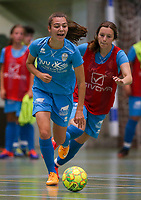 20190915– HALLE , BELGIUM : FP Halle-Gooik Girls A player Tiffanie Vanderdonckt and FP Halle-Gooik B player Rina Arifi (in red) are pictured during the Belgian Women's Futsal D1 match between FP Halle-Gooik A and FP Halle-Gooik B on Sunday 15th 2019 at the De Bres Sport Complex in Halle, Belgium. PHOTO SPORTPIX.BE | Sevil Oktem