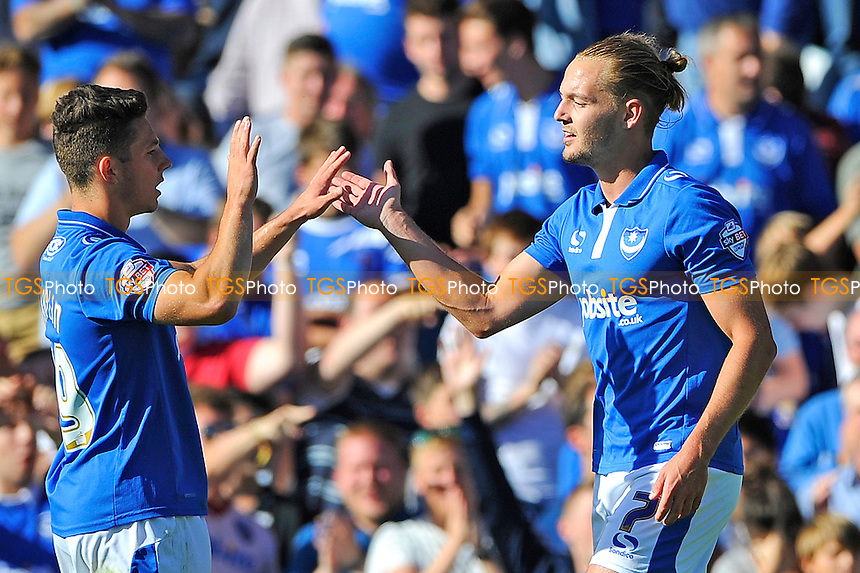 Conor Chaplin of Portsmouth left and Adam McGurk of Portsmouth both scored during Portsmouth vs Barnet, Sky Bet League 2 Football at Fratton Park, Portsmouth, England on 12/09/2015