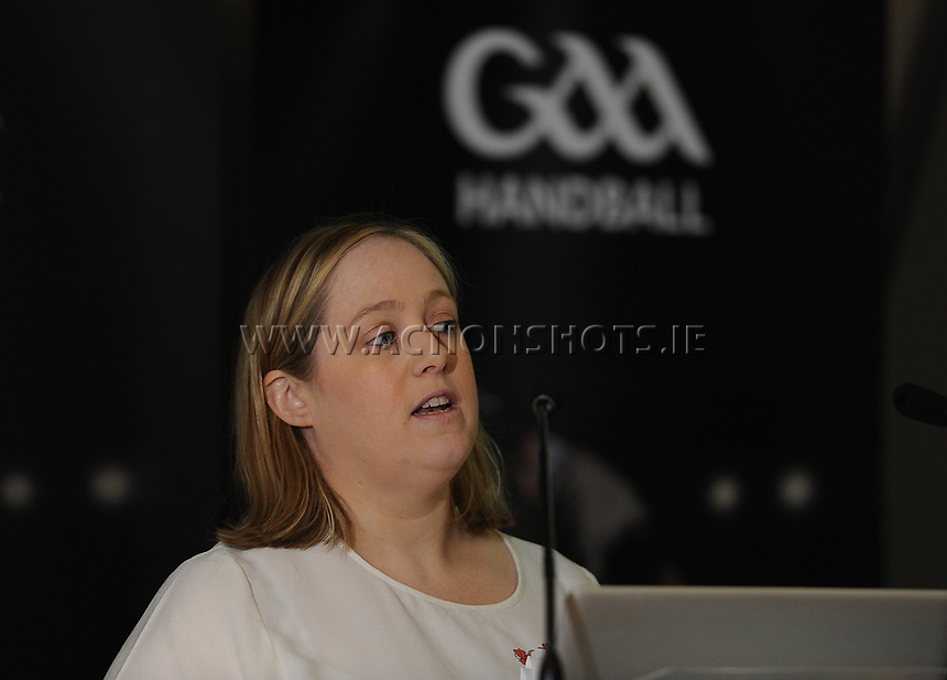 04/02/2018; GAA Handball Annual Congress 2018; Croke Park, Dublin;<br /> Finance manager Joan Kelly presents the annual accounts report to congress.<br /> Photo Credit: actionshots.ie/Tommy Grealy