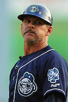 Asheville Tourists manager Joe Mikulik #20 during  a  game  against the Charleston RiverDogs   at McCormick Field on August 4, 2011 in Asheville, North Carolina. Asheville won the game 5-4.   (Tony Farlow/Four Seam Images)