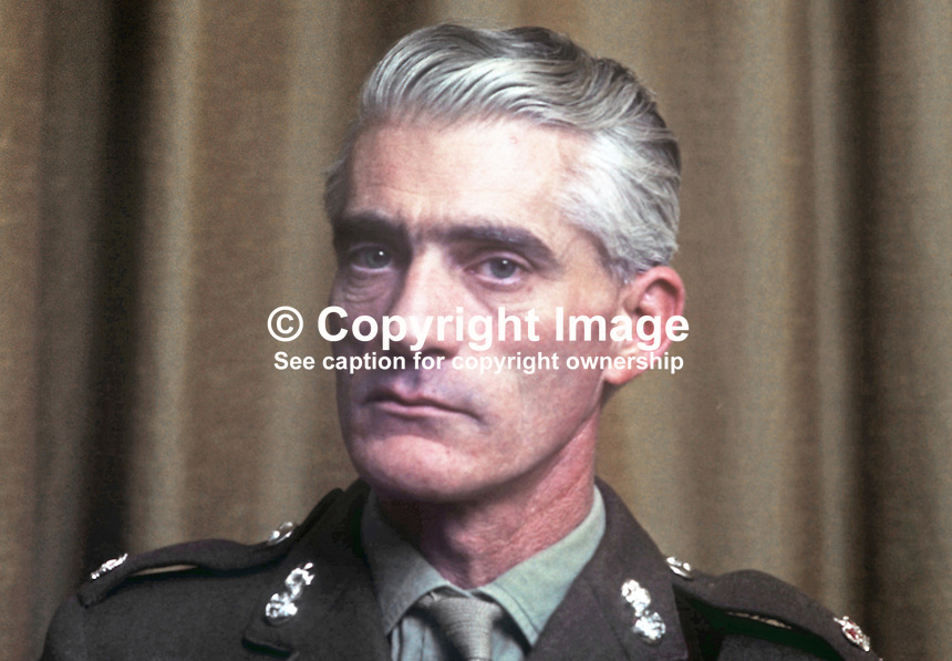 Major RW Wilson, training officer, Belfast Battalion, Ulster Defence Regiment, N Ireland, February 1970. 197002000037<br />