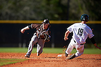 St. Bonaventure Bonnies second baseman Jared Baldinelli (6) waits for a throws as Nate Ostmo (19) slides in during a game against the Dartmouth Big Green on February 25, 2017 at North Charlotte Regional Park in Port Charlotte, Florida.  St. Bonaventure defeated Dartmouth 8-7.  (Mike Janes/Four Seam Images)