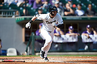 Michael Ludowig (22) of the Wake Forest Demon Deacons starts down the first base line against the Furman Paladins at BB&T BallPark on March 2, 2019 in Charlotte, North Carolina. The Demon Deacons defeated the Paladins 13-7. (Brian Westerholt/Four Seam Images)