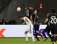 Omar Alderete (FC Basel) gegen Andre Silva (Eintracht Frankfurt) - 12.03.2020: Eintracht Frankfurt vs. FC Basel, UEFA Europa League, Achtelfinale, Commerzbank Arena<br /> DISCLAIMER: DFL regulations prohibit any use of photographs as image sequences and/or quasi-video.