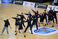 St Peters warm up for the 2019 Schick AA Girls' Secondary Schools Basketball National Championship final between St Peters School Cambridge and Hamilton Girls' High School at the Central Energy Trust Arena in Palmerston North, New Zealand on Saturday, 5 October 2019. Photo: Dave Lintott / lintottphoto.co.nz