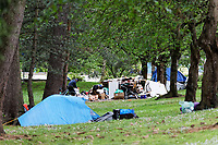 Pictured: Tents occupied by homeless people by Boulevard de Nantes opposite Cardiff City Hall. Wednesday 12 June 2019<br /> Re: Homeless people living in tents in Cardiff, Wales, UK.