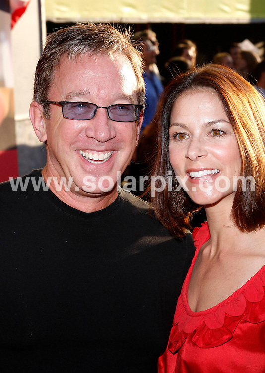 """**ALL ROUND PICTURES FROM SOLARPIX.COM**.**SYNDICATION RIGHTS FOR UK, SPAIN, PORTUGAL, AUSTRALIA, S.AFRICA & DUBAI (U.A.E) ONLY**. """"Swing Vote"""" World Premiere at El Capitan Theatre, Hollywood, Los Angeles, USA. July 24, 2008..This pic: Tim Allen and Laura Diebel..JOB REF: 6910 PHZ/David Gabber    .DATE: 24_07_2008.**MUST CREDIT SOLARPIX.COM OR DOUBLE FEE WILL BE CHARGED* *UNDER NO CIRCUMSTANCES IS THIS IMAGE TO BE REPRODUCED FOR ANY ONLINE EDITION WITHOUT PRIOR PERMISSION*"""
